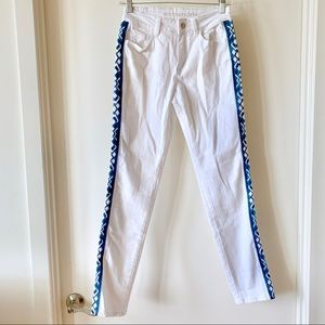 NWT Boston Proper Tribal Stripe White Jeans Sz 2